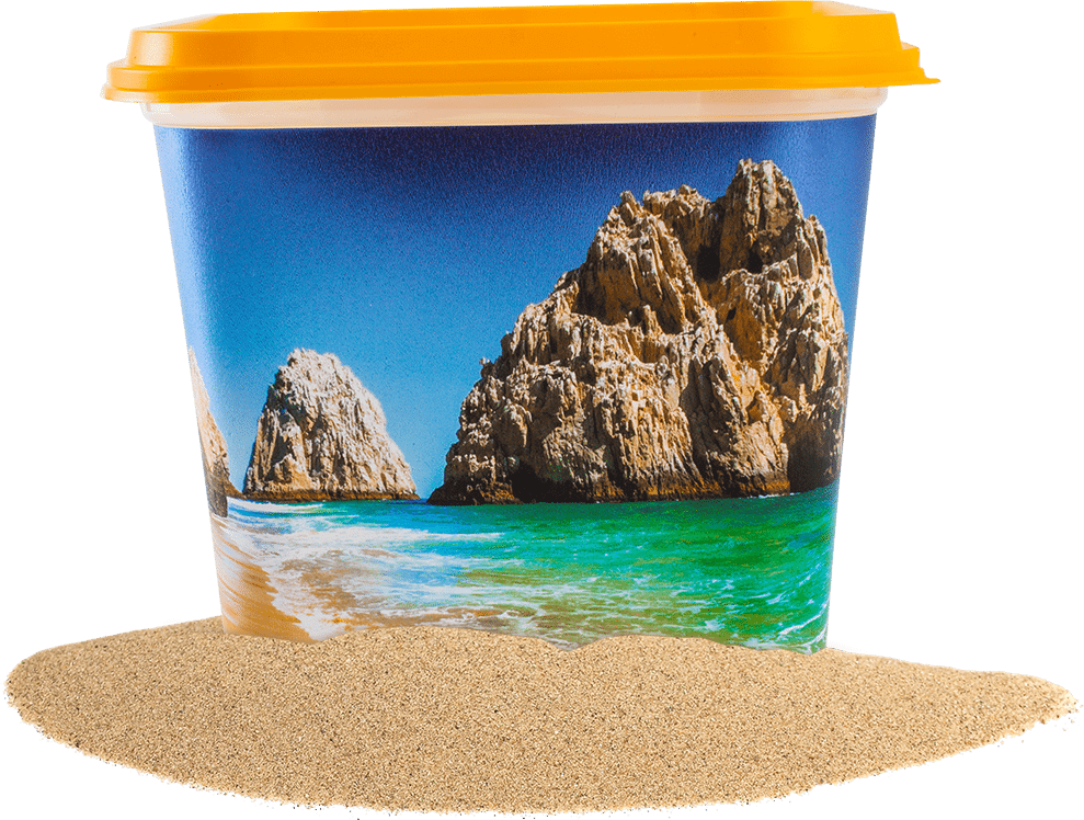 A container with a yellow lid and a beach scene printed on it.